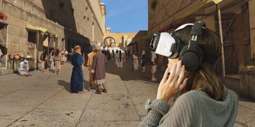 "VR-Experience ""A look into the past"" neben der Jerusalemer Klagemauer"