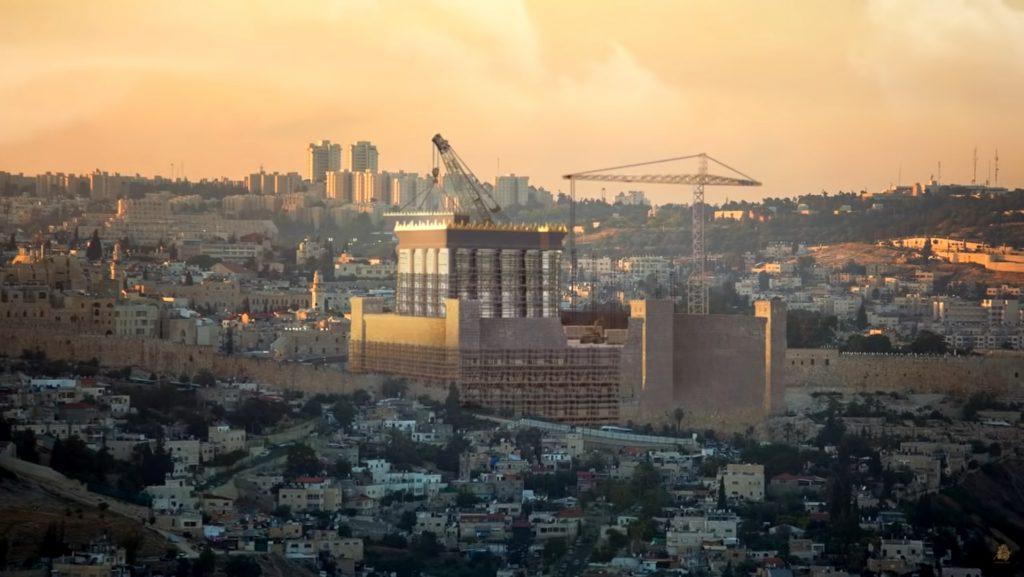 Visualisierung des dritten Tempels auf dem Jerusalemer Tempelberg